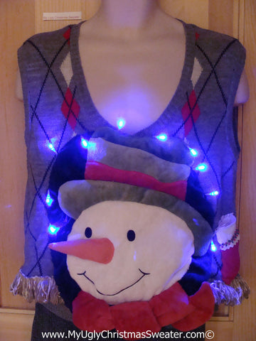 Tacky 3D Ugly Christmas Sweater Vest Mens Puffy Frosty with Lights and Fringe (A61)
