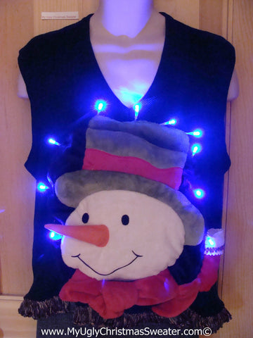 Tacky 3D Ugly Christmas Sweater Vest Mens Puffy Frosty with Lights and Fringe (A62)
