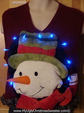Tacky 3D Ugly Christmas Sweater Vest Mens Puffy Frosty with Lights and Fringe (A63)