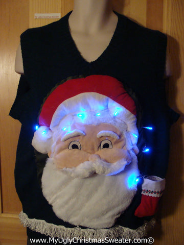 Tacky 3D Ugly Christmas Sweater Vest Mens Puffy Santa with Lights and Fringe (A64)