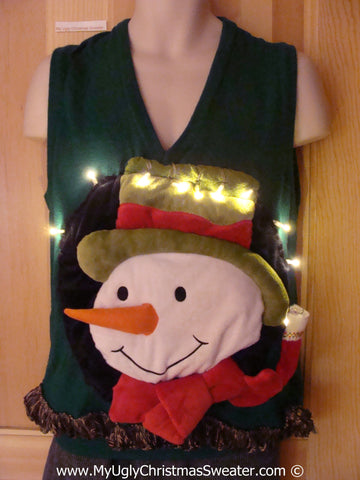Tacky 3D Ugly Christmas Sweater Mens Puffy Frosty with Lights and Fringe