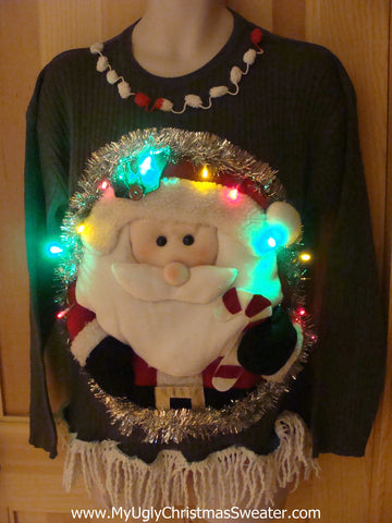 Tacky 3D Ugly Christmas Mens Sweater Puffy Santa with Lights and Fringe (A6)
