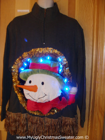 Tacky 3D Ugly Christmas Sweater Mens Puffy Santa with Lights and Fringe