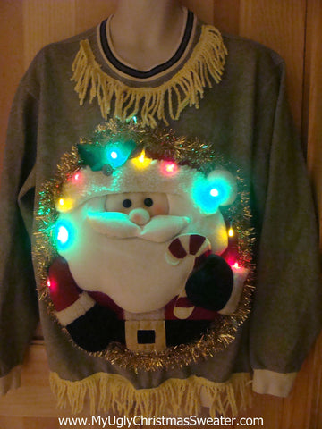 Tacky 3D Ugly Christmas Sweater (sweatshirt) Mens Puffy Santa with Lights and Fringe (A8)