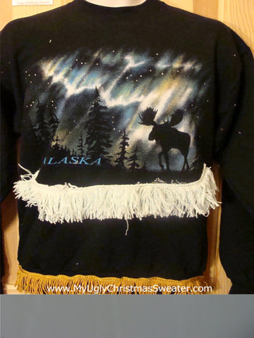 Tacky Christmas Sweatshirt Alaska Night with Moose