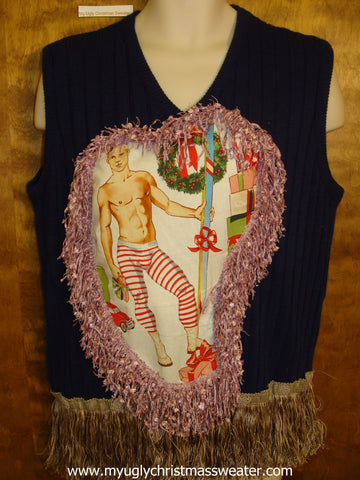 Mens Hottie Guy Ugly Christmas Sweater Vest with Super Fringe