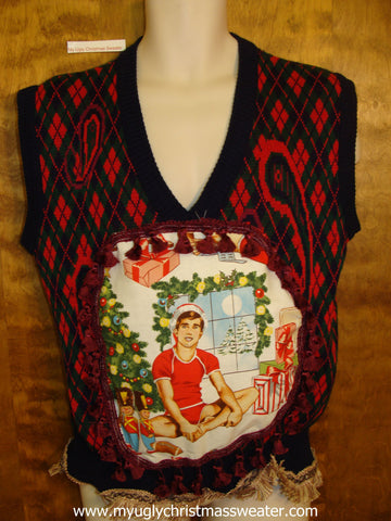 Funny Argyle Mens Hottie Guy Ugly Christmas Sweater Vest