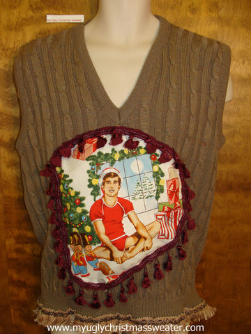 Crazy Fun Mens Hottie Guy Ugly Christmas Sweater Vest