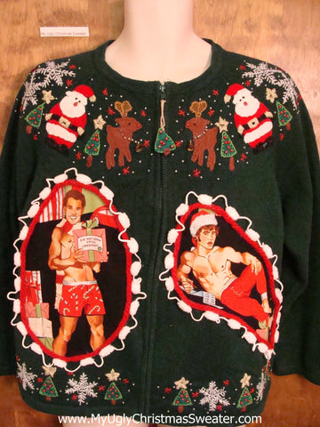 Hottie Guy with Santa and Reindeer Ugly Christmas Sweater