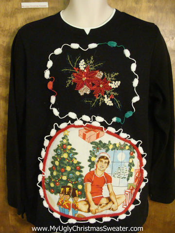Thin Knit Hottie Guy Ugly Christmas Sweater with Poinsettias