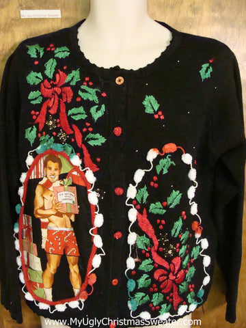 Ivy and Ribbon Hottie Guy Ugly Christmas Sweater