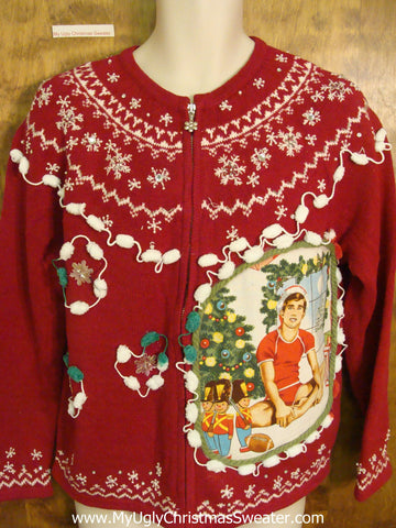 Nordic Themed Red Hottie Guy Ugly Christmas Sweater