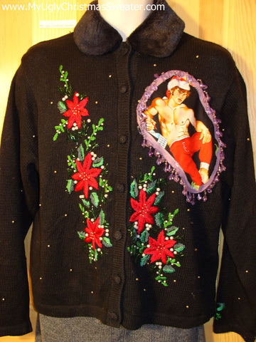 Hottie Guy Tacky Ugly Christmas Sweater Dangling Fringe & 3D Ornaments (b12)