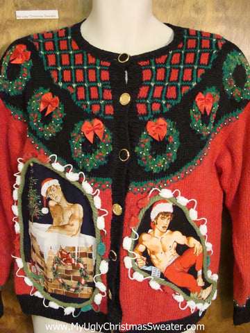 Nordic Wreath Theme Hottie Guy Ugly Christmas Sweater