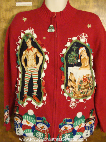 Snowman 6pack Hottie Guy Ugly Christmas Sweater