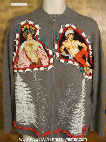 Dueling Hottie Guys with Trees Ugly Christmas Sweater