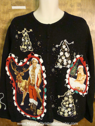Black Knit with Trees and Two Hottie Guys Ugly Christmas Sweater