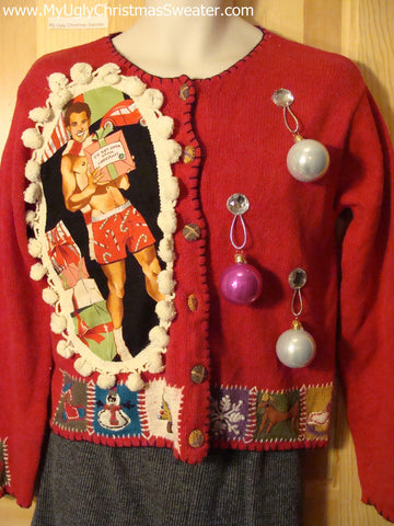 Hottie Guy Tacky Ugly Christmas Sweater Dangling Fringe & 3D Ornaments (b13)