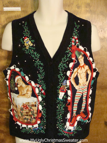 Hottie Guy Black Festive Ugly Christmas Sweater Vest