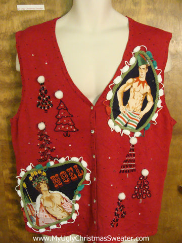 Hottie Guy Red Tree Themed Ugly Christmas Sweater Vest