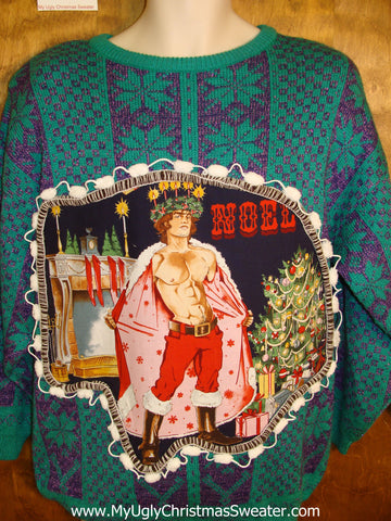 Blue Nordic Snowflakes Hottie Guy Ugly Christmas Sweater