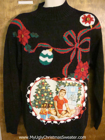 Ornament Themed 80s Hottie Guy Ugly Christmas Sweater