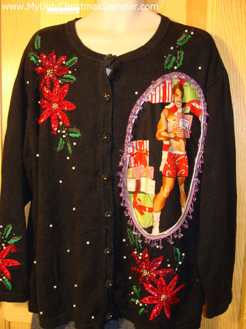 Hottie Guy Tacky Ugly Christmas Sweater Dangling Fringe & Poinsettias (b14)