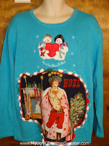 Snowman Couple and Hottie Guy Ugly Christmas Sweater