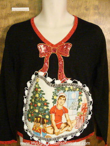 Bling Bow and Hottie Guy Ugly Christmas Sweater