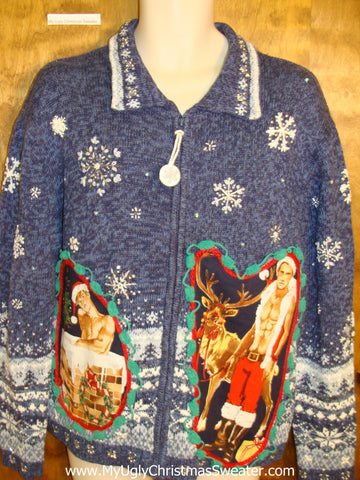 Blue Snowflakes and Hottie Guy Ugly Christmas Sweater