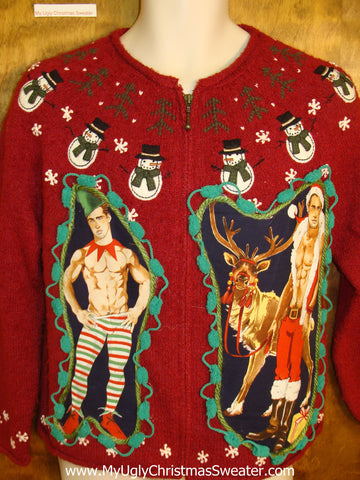 Nordic Snowmen and Hottie Guy Ugly Christmas Sweater