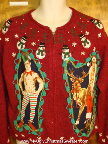 Nordic Snowmen Hottie Guy Ugly Christmas Sweater