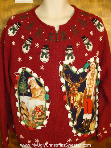 Red Knit with Nordic Snowmen Hottie Guy Ugly Christmas Sweater