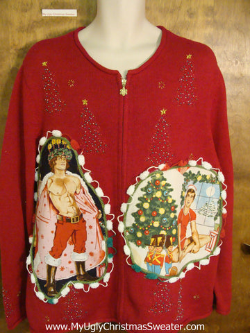 Big Size Hottie Guy Red Ugly Christmas Sweater