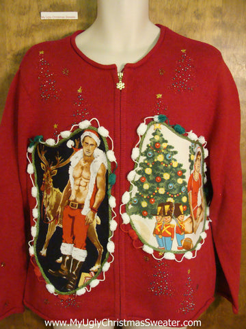 Hottie Guy Ugly Christmas Sweater with Bling Trees