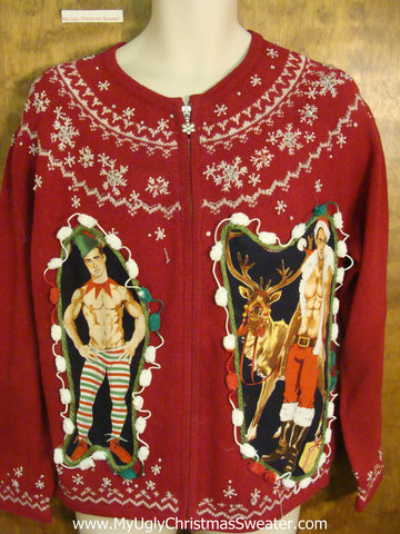Nordic 2sided Hottie Guy Red and White Ugly Christmas Sweater