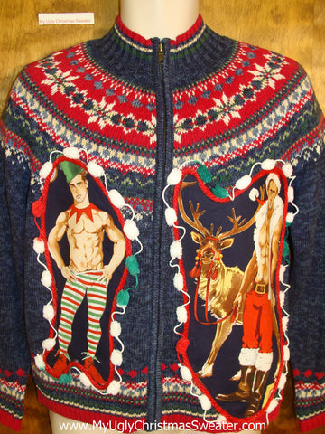 Blue and Red Nordic Themed Hottie Guy Ugly Christmas Sweater