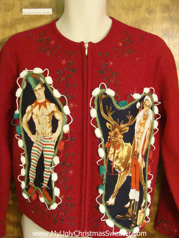Festive Red Knit Hottie Guy Ugly Christmas Sweater