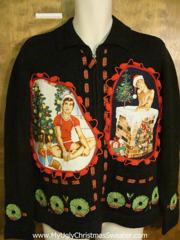 Festive Wreaths Hottie Guy Ugly Christmas Sweater