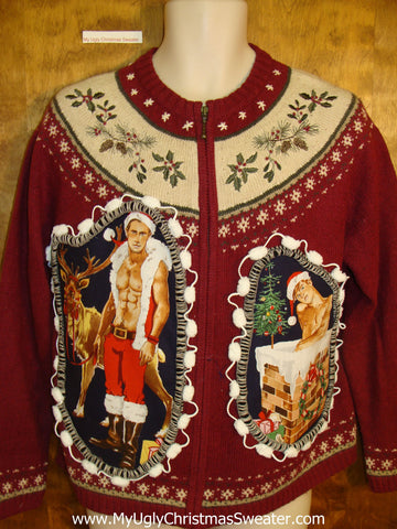 Maroon 2sided Nordic Hottie Guy Ugly Christmas Sweater