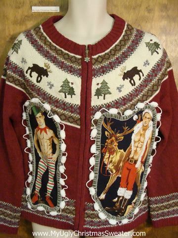Maroon Nordic Two Sided Hottie Guy Ugly Christmas Sweater