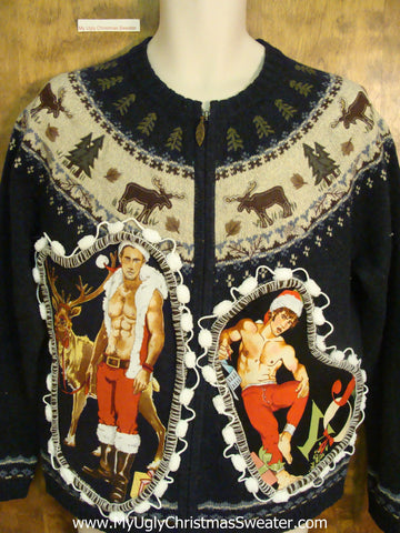 Blue Nordic Themed Hottie Guy Ugly Christmas Sweater