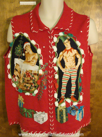 Gift Themed Hottie Guy Ugly Christmas Sweater Vest