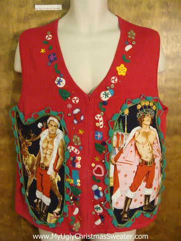 Colorful and Funny Hottie Guy Ugly Christmas Sweater Vest