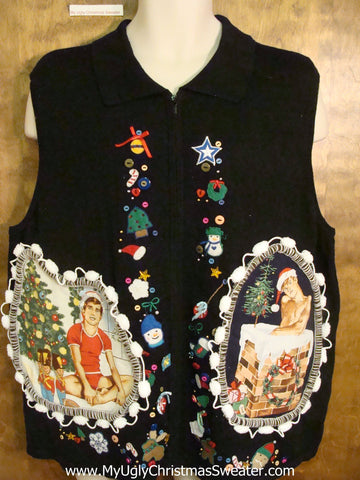 Big Size Colorful Hottie Guy Ugly Christmas Sweater Vest