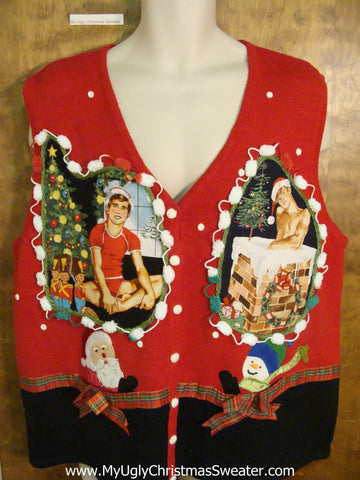 Santa and Snowman Hottie Guy Ugly Christmas Sweater Vest