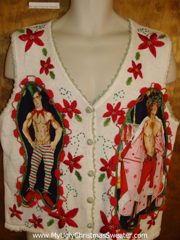 Tacky Poinsettias Hottie Guy Ugly Christmas Sweater Vest