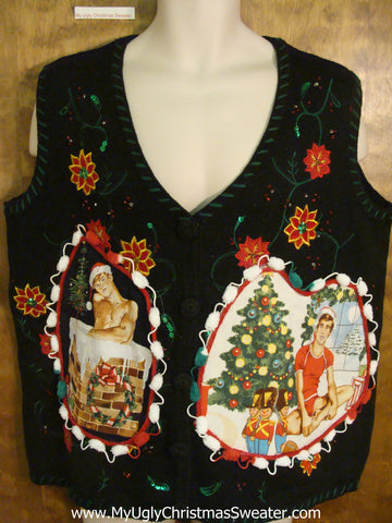 Big Size Poinsettias Themed Hottie Guy Ugly Christmas Sweater Vest