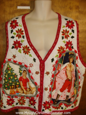 Poinsettias Tacky Hottie Guy Ugly Christmas Sweater Vest