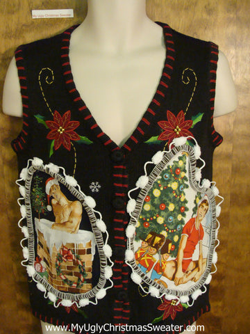 Black Vest with Poinsttias Hottie Guy Ugly Christmas Sweater Vest